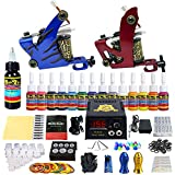 Solong Tattoo Tattoo Kit Complete Machine Guns 14 Inks Power Supply Foot Pedal Needles Grips Tips TK210