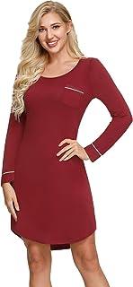Zexxxy Women Short Sleeve Cotton Nightgown Satin Collar Night Shirt Dress