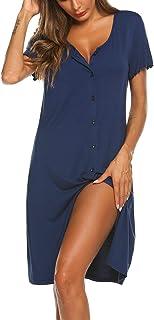 قميص نوم للنساء من إكوير بأكمام قصيرة زر أسفل ثوب النوم الخامس الرقبة بيجامة اللباس