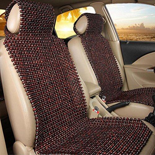 YLG autostoel kussen-auto houten kralen kussen-ademend en comfortabel zitkussen koele auto stoelhoezen, bruin