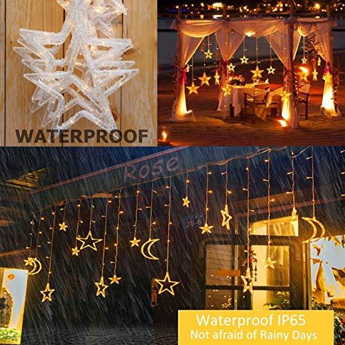V-DankLEDソーラーイルミネーションライト星月ストリングライトカーテンライト138電球3.5m8種類モードリモコン付タイマー機能防水電飾クリスマス飾りライト自動点灯消灯ハロウィンパーティー新年祝日結婚式庭対応