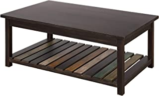 P PURLOVE Rustic Coffee Table Solid Wood+MDF Rectangle Coffee Table for Living Room with Color Open Shelf Easy Assembly