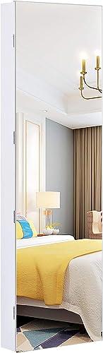 SONGMICS Armoire à Bijoux avec Long Miroir,Coffre à Bijoux avec 6 Lampes LED, Suspendue à la Porte ou fixée au Mur, G...