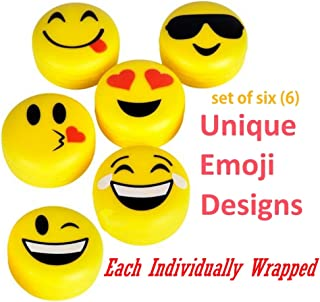 Emoji Lip Gloss for Kids - Six (6) Pieces Feature Emoticon Themed Lip Balms with Six Unique Designs - Great for Gifts, Classrooms, and Birthday Party Favors + Bonus 12 Emoji by 4E's Novelty