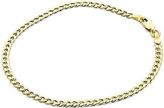 Bracciale catena a maglia piatta oro giallo 14carati 585 -larghezza 4.40mm - Unisex