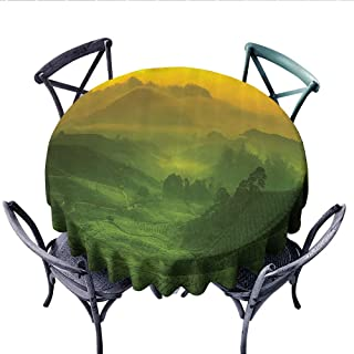 Room Decorations Collection Washable Tablecloth Sunrise View of Tea Plantation Field Freshness Morning at Cameron Highland Malaysia Image Table Cover for Kitchen (Round, 36 Inch, Green)