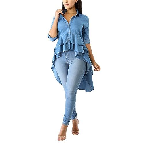 7d13446e9c Women Ruffle High Low Hem Buttom Down Long Sleeves Denim Dress Jean Shirts  Tops Shirt Dress