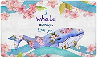 Lucy Curme Cute Whale in Waves and Flowers with Quote I Whale Always Love You Doormat Anti-Slip Entrance Mat Floor Rug Indoor/Outdoor Door Mats Home Decor, Rubber Backing Large 30