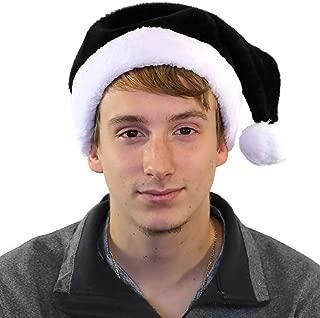 Century Novelty Holiday Plush Santa Hat, Black w/White Trim, One Size, 1 per pkg.