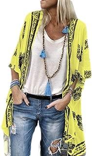 Women Summer Kimono Cardigans Floral Print Beach Cover ups Casual Tops