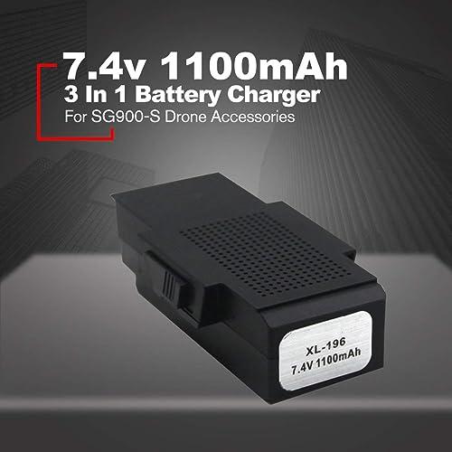 MXECO 3 en 1 Adaptador de la batería 7.4V 1100mA Quadcopter Multifuncional Cargador de batería para SG900-S Drone Accesorios
