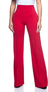 red high waisted wide leg pants