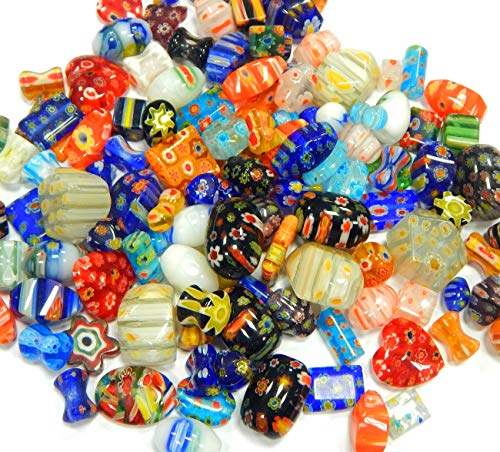 Perlin Millefiori Perlen Set 80stk Perlenmischung Bunte Glasperlen Mix Form Perle zum Auffädeln Kinder Schmuckperlen R194 x2