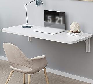 壁掛け折りたたみテーブル、木製キッチン&ダイニングテーブル、コンピュータデスク学習ブックテーブル、ダブルサポートウォールテーブルテーブルサイドテーブルホームカウンターテーブル、スタンド付き、白い(70x20cm/28x8in)