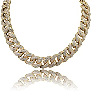 KOSMOLING Men Iced Out Hip Hop Jewelry 18mm Maimi Cuban Link Chain Necklace, Gold Silver Color Plated, Micro Pave AAA Cubi...