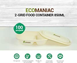 Ecomaniac Eco-Friendly 2-Grid Food Container | Compostable 2-Grid Food Container | Disposable 2-Grid Food Container| Biodegradable 2-Grid Food Container 850 ml [100 Pcs]