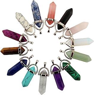Mutilcolor 14pcs Bullet Shape Healing Pointed Chakra Pendants Quartz Crystal Stone Charm Randow Color for Necklace Making