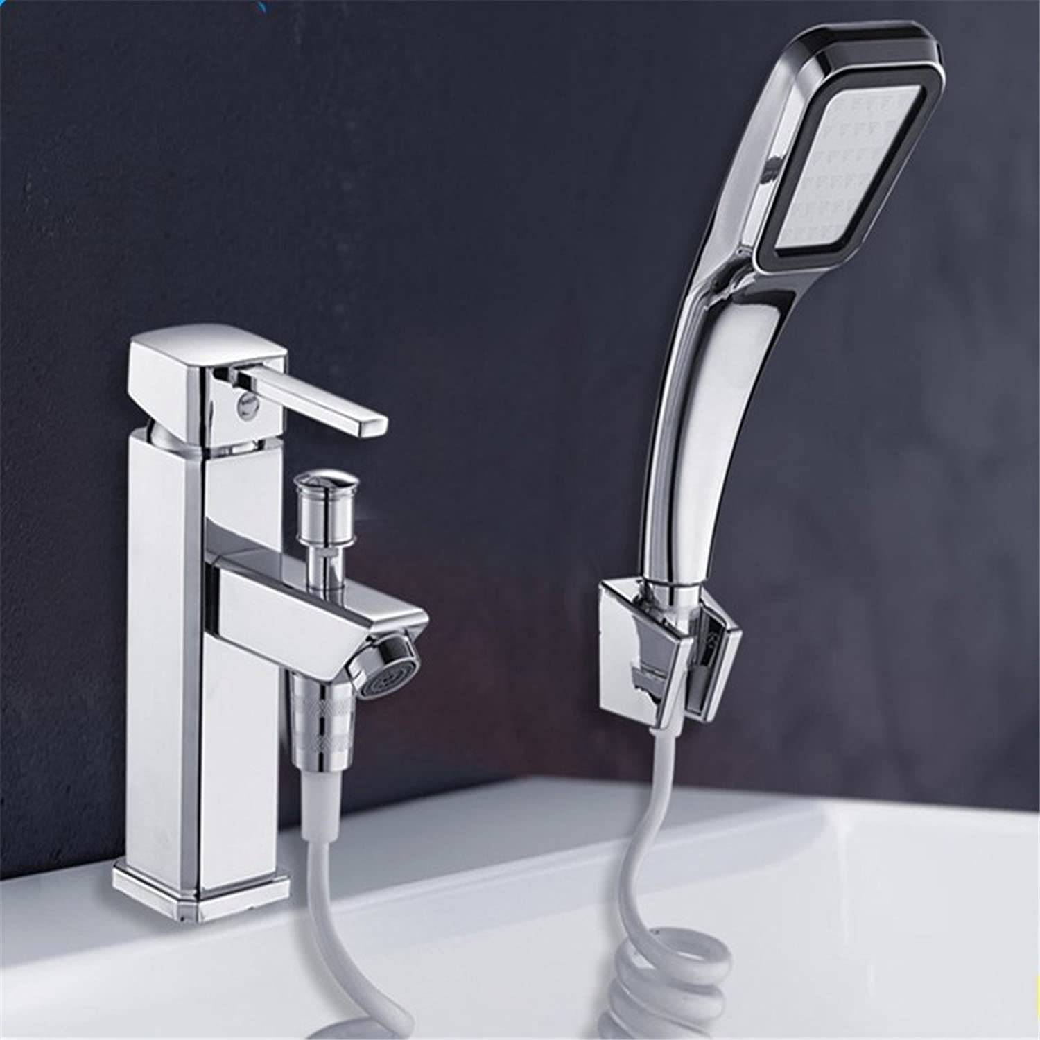 Commercial Single Lever Pull Down Kitchen Sink Faucet Brass Constructed Polished Chrome All-Copper Single Hole Basin Faucet Shower Shower Basin Bathtub Kitchen Sink Hot and Cold Water Dual Use