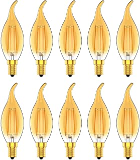 4W E14 Regulable Led Bombilla Vela de Filamento, Bombilla LED Edison Vintage con Casquillo Fino, Equivalente a 30W, 300 Lúmenes, Blanco Cálido 2700K,10 Unidades