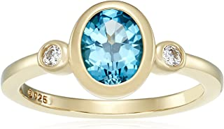 Yellow-Gold-Plated Sterling Silver Gemstone and Swarovski Zirconia Textured Finish Ring