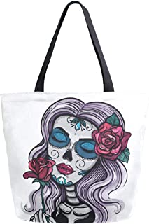 ZzWwR Day of the Dead Sugar Skull Girl with Rose Print Extra Large Canvas Shoulder Tote Top Storage Handle Bag for Gym Beach Weekender Travel Reusable Grocery Shopping