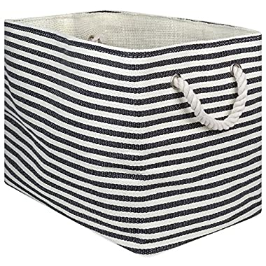 """DII Oversize Woven Paper Storage Basket or Bin, Collapsible & Convenient Home Organization Solution for Office, Bedroom, Closet, Toys, Laundry(Large - 17x12x12""""), Black Pin Stripe"""