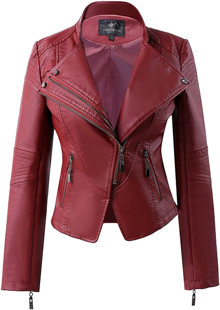 LingLuoFang LLF Women's Faux Leather Stand-up Collar Moto Biker Short Jacket