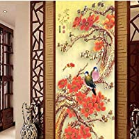 Ljjlm カスタムの大きなフレスコ画と梅の花の調和の鳥中国のポーチの背景の壁紙Papelde Parede Para Quarto-280X200Cm