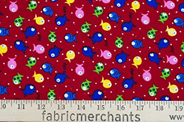 Fabric Merchants Corduroy Fish in Pond Fabric by The Yard, Red/Blue/Green 10 Yards