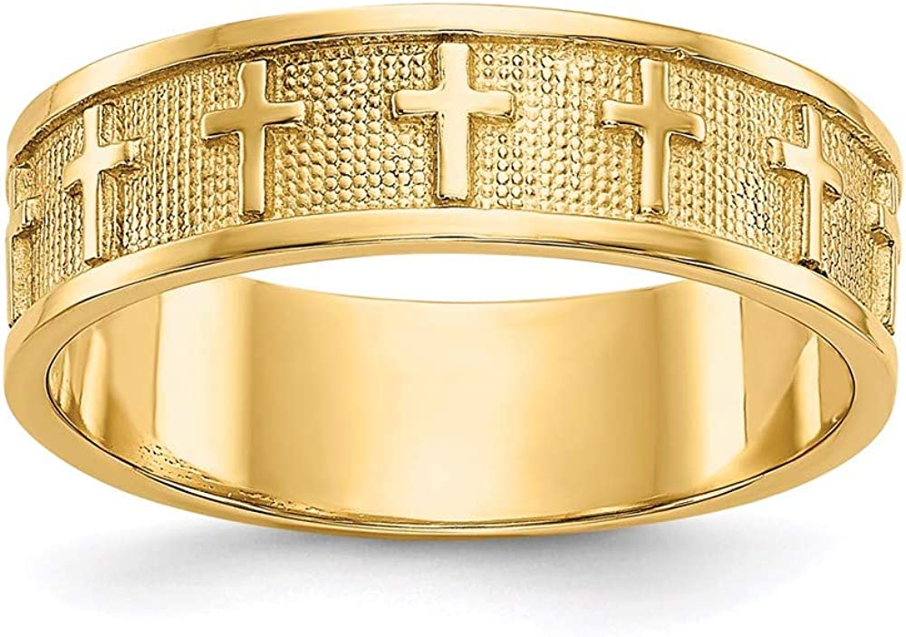 14k Yellow Gold Cross Religious Wedding Ring Band Size 5.75 Fine Jewelry For Women Gifts For Her