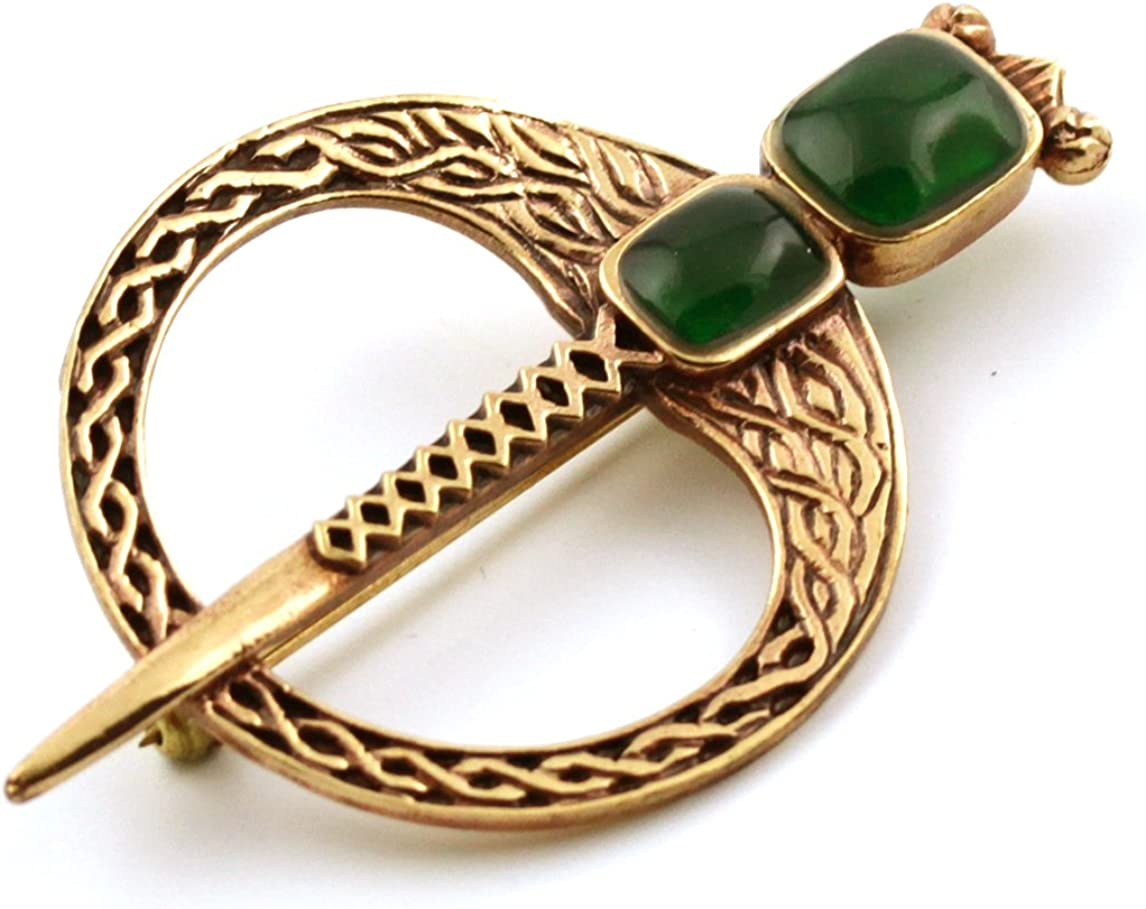 Bronze Green Agate Celtic Knot Tara Brooch and Pins Norse Vintage Thailand Made Jewelry (Brooch V.2)