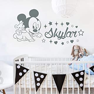 Name Wall Decal Baby Mickey Mouse Vinyl Decals Sticker Custom Name Decals Personalized Boy Girl Name Decor Bedroom Nursery Baby Decor ZX303