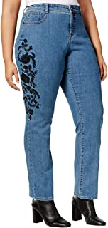 Plus Size Tummy-Control Embroidered Slim-Leg Jeans