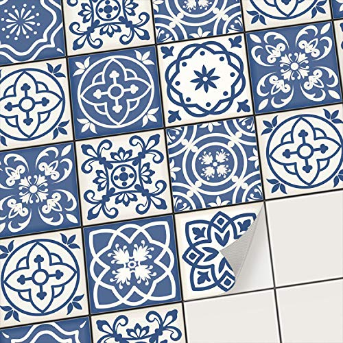 Carrelage adh/ésif Mural I Autocollants pour Carreaux de Ciment 10x10 cm Design Mosa/ïque Vert-Bleu D/écorer Cuisine 9 pi/èces mosaique Salle de Bain I R/énover dosseret I Stickers carrelage