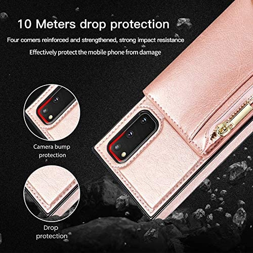 Wkae for Samsung Galaxy S20 Plus Case, Zipper Wallet Case with Credit Card Holder/Crossbody Long Lanyard, Shockproof Leather TPU Case Cover for Samsung Galaxy S20 Plus (Color : Rosegold)