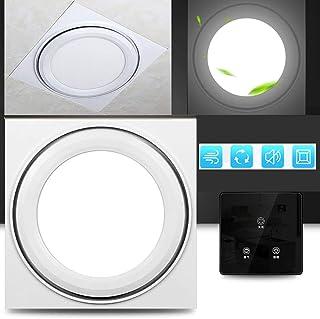 Multifuncional silenciosa Ventilador de ventilación, 220v Rectangular ventilador de conducto, Ventilador Extractor de baño/cocina, Ventilación iluminación,touch-switch-Round