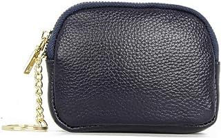 Mini pochette in vera pelle portamonete per portamonete con portachiavi, Blu (Blu) - HF105