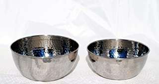 Set of 2 hammered prep and cook and mixing bowls stainless steel