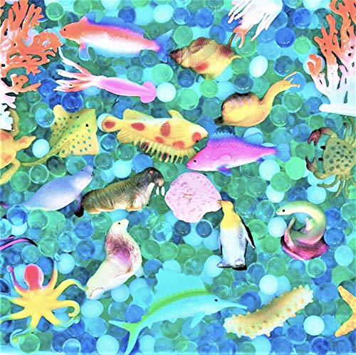 SENSORY4U Dew Drops Water Beads Ocean Explorers Tactile Sensory Kit - 24 Sea Animal Creatures Included - Great Fine Motor Skills Toy for Kids