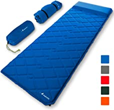 MalloMe Sleeping Pad Camping Air Mattress – Self Inflating Mat Bed for Backpacking Adults – Inflatable Ultralight Insulated Soft Foam Sleep Gear - Lightweight Travel Cot Roll Mats Accessories