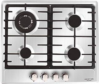 NOXTON Built-in 60cm cuisinière à gaz plaque de cuisson 4 brûleurs en acier inoxydable FFD pour le GPL et le gaz naturel