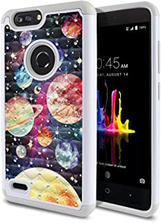 FINCIBO Case Compatible with ZTE Blade Z Max Z982/ Sequoia, Dual Layer Shock Proof Hybrid Protector Case Cover TPU Sparkle Rhinestone Bling for Blade Z Max Z982 - Planet Solar System