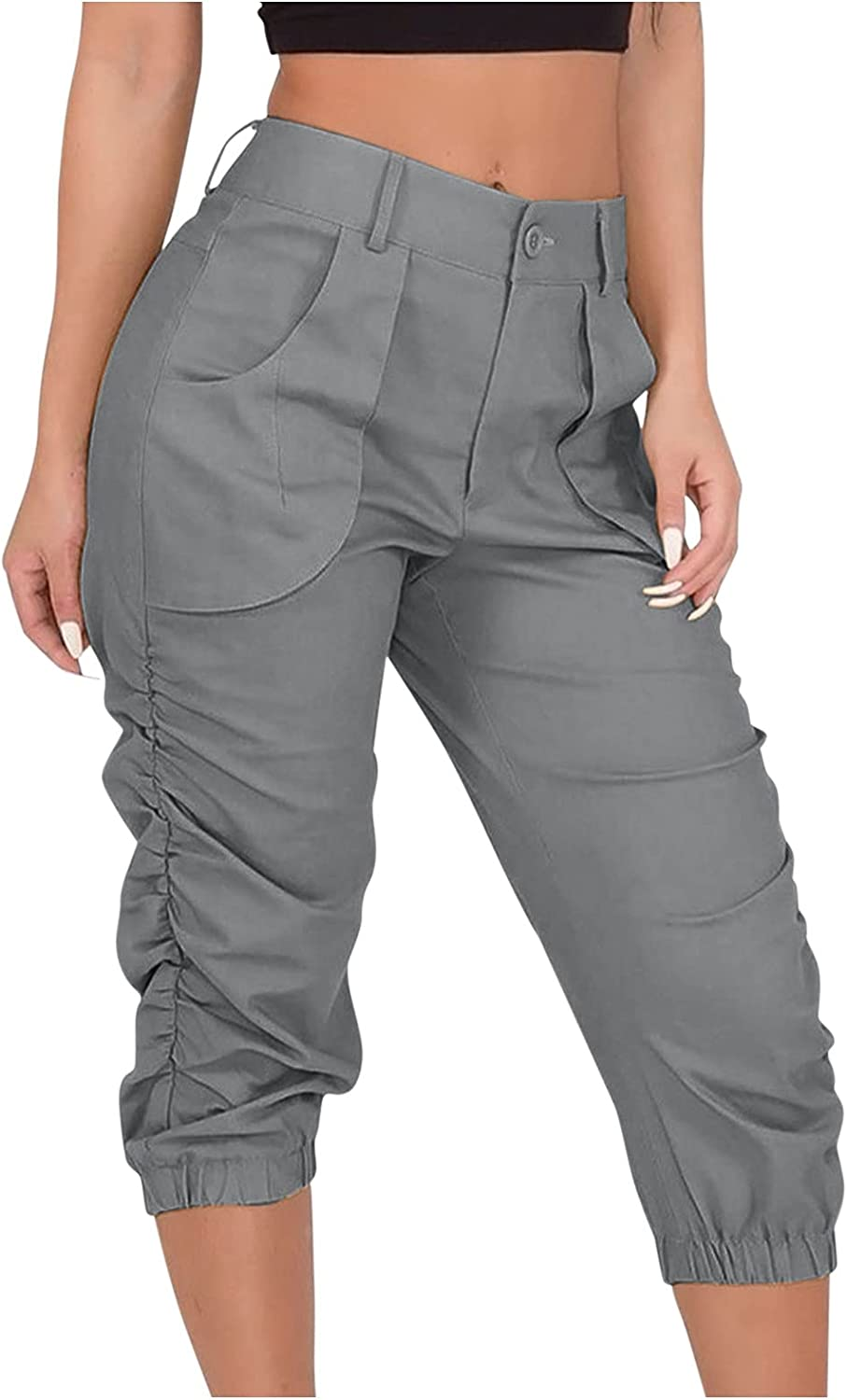 Kcocoo Women's Casual High Waist Cargo Pants Solid Color Ruched Pull On Capri Pants Harem Trousers Cropped Pants with Pockets