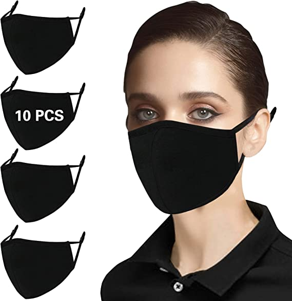 10 Black Cotton Cloth Face Masks Washable Reusable Adjustable Breathable Fabric Mask with Ear loops Nose Wire for Women Men