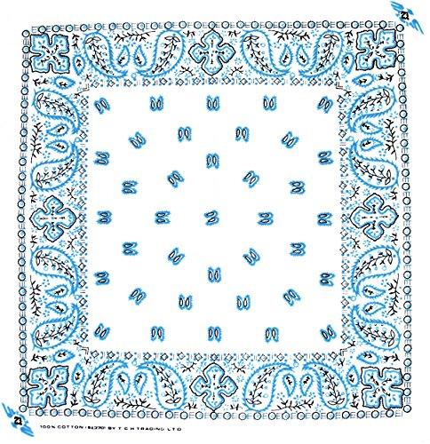 Tuch Paisleymuster Weiß Blau Kopftuch Bandana Halstuch Biker Sport Nickituch Kopfbedeckung ca. 51 x 51 cm Einseitig bedruckt