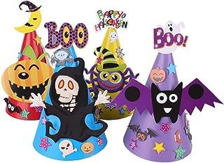 Amosfun 4pcs Halloween Hats Cartoon Lovely Paperboard Pumpkin Spider Bat Ghost Cosplay Hats Party Caps for Kids Children