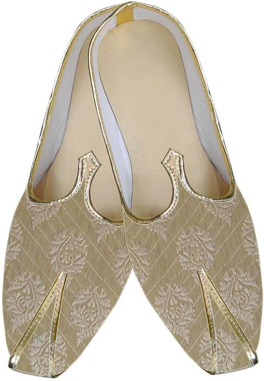 INMONARCH Mens golden Brocade Wedding shoes Ethnic MJ0064