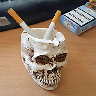 Skull Ashtray, Candy Bowl, Flower Pot, Party Decoration, Unique Resin Spooky Bar Decors Smoking Room Accessories Halloween...