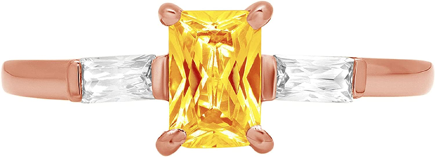 1.05ct Emerald Baguette cut 3 stone Solitaire with Accent Natural Yellow Citrine Gemstone Ideal VVS1 Engagement Promise Statement Anniversary Bridal Wedding Ring 14k Pink Rose Gold