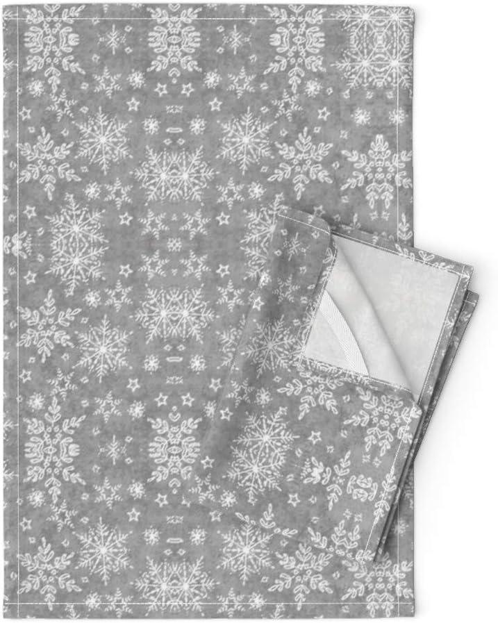 割引 Roostery 人気激安 Tea Towels Festive Print Christmas Silver Snowflakes